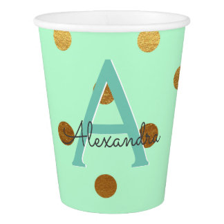 Mint and Gold Foil Polka Dots Monogram Birthday Paper Cup