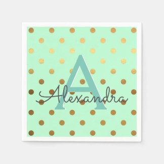 Mint and Gold Foil Polka Dots Monogram Birthday Paper Napkin