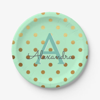 Mint and Gold Foil Polka Dots Monogram Birthday Paper Plate