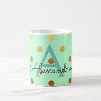 Mint and Gold Foil Polka Dots Monogram Name Coffee Mug