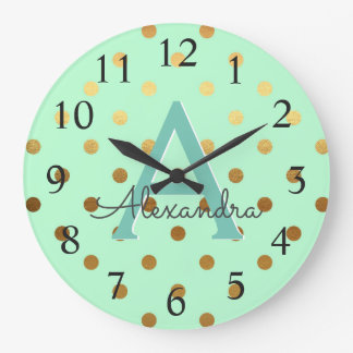 Mint and Gold Foil Polka Dots Monogram Name Large Clock