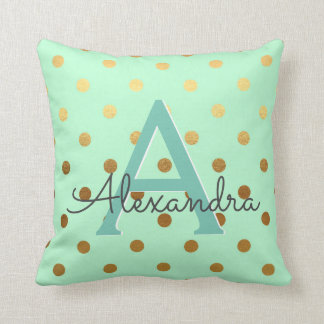 Mint and Gold Foil Polka Dots Monogram Name Throw Pillow