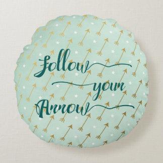 Mint and Gold Follow Your Arrow Throw Pillow
