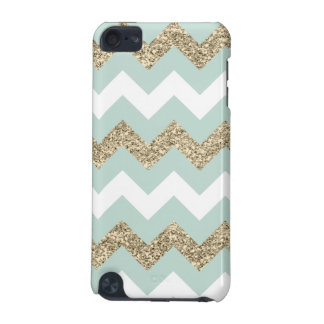 Mint and Gold Glitter Chevron iPod Touch 5G Case