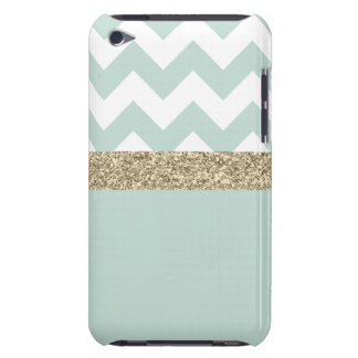 Mint and Gold Glitter Chevron iPod Touch Case