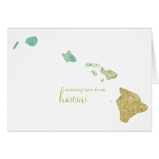 Mint and Gold Glitter Sending Love From Hawaii Card