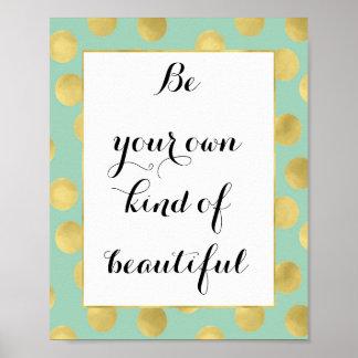Mint and Gold Glitz Dots Be Beautiful Poster
