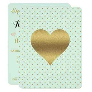 Mint And Gold Heart Polka Dot Party Invitation