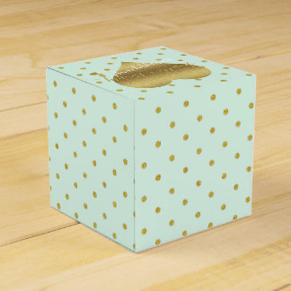 Mint And Gold Heart Polka Dots Party Favor Boxes