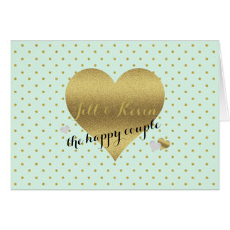 Mint And Gold Heart Polka Dots Party Note Cards