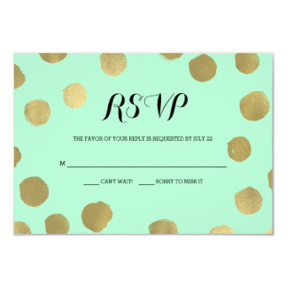 "Mint and Gold Polka Dot Wedding RSVP card 3.5"" X 5"" Invitation Card"