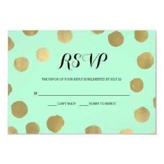 "Mint and Gold Polka Dot Wedding RSVP card 3.5"" X 5"" Invitation Card"