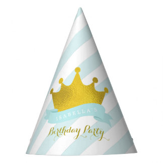 Mint and Gold Tiara Princess Birthday Party Hat