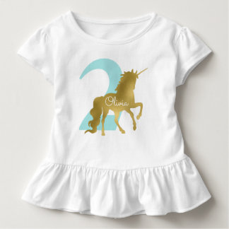 Mint and Gold Unicorn Milestone Birthday Toddler T-shirt