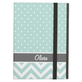 Mint and Gray Chevron Dots Monogram iPad Air Cover