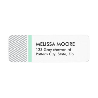Mint and gray chevron pattern chic return address return address label