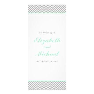Mint and Gray Chevron Wedding Program