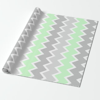 Mint, and gray chevron Wrapping paper