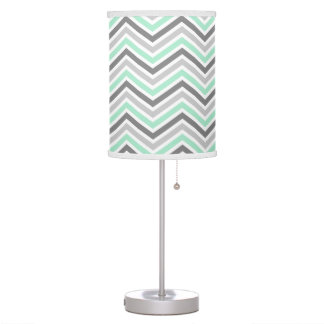 Mint and Gray Chevron Zigzag Pattern Table Lamp
