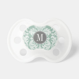 Mint and Gray Damask Pattern Custom Monogram Baby Pacifiers