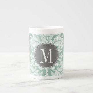 Mint and Gray Damask Pattern Custom Monogram Tea Cup