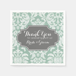 Mint and Gray Damask Wedding Thank you Paper Napkin