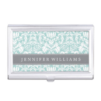 Mint and Gray Elegant Damask Business Card Holder