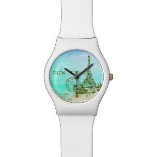 Mint and Green Pastels Impressionist Paris France Wristwatch