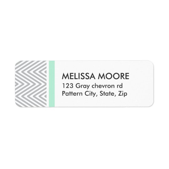 Mint and grey chevron pattern chic return address return address label