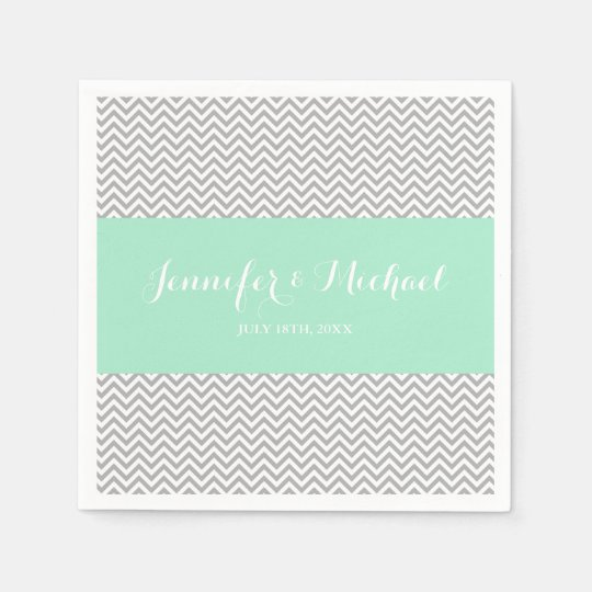 Mint and Grey Chevron Personalized Disposable Napkin