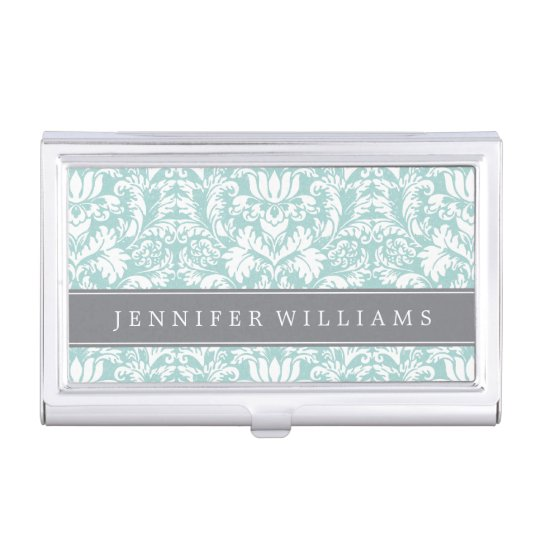 Mint and Grey Elegant Damask Business Card Holder