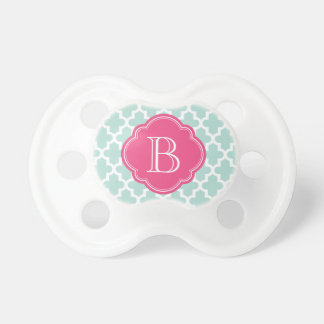 Mint and Hot Pink Modern Moroccan Custom Monogram Pacifier