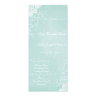 Mint and Lace Wedding Program Full Color Rack Card