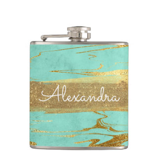 Mint and Marble with Gold Foil and Glitter Hip Flask