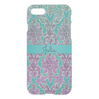 Mint and Mauve Pink Damask iPhone 7 Case