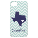 Mint and Navy Cute Texas Love Chevron Monogram Case For The iPhone 5
