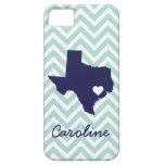 Mint and Navy Cute Texas Love Chevron Monogram iPhone 5 Case
