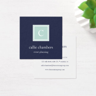 Mint and Navy Monogram Square Business Card
