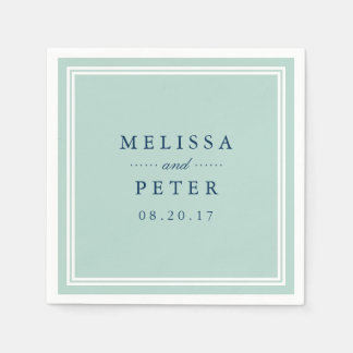 Mint and Navy Wedding Paper Napkin