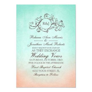 "Mint and Peach Bohemian Wedding Invitation 5"" X 7"" Invitation Card"