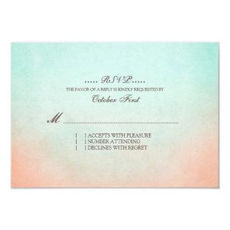 "Mint and Peach Bohemian Wedding RSVP 3.5"" X 5"" Invitation Card"