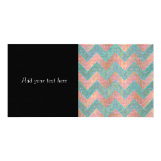 Mint and Peachy Pink Floral Damask Chevron Photo Card