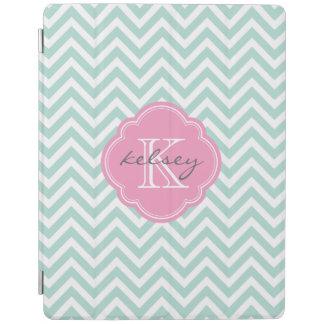 Mint and Pink Chevron Custom Monogram iPad Cover