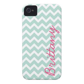 Mint and Pink Chevron Custom Monogram iPhone 4 Case