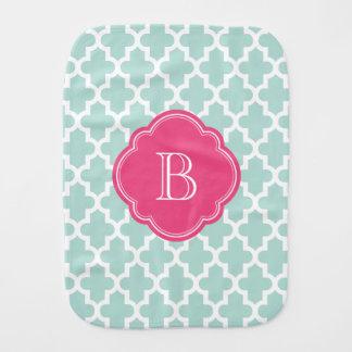 Mint and Pink Moroccan Quatrefoil Monogram Baby Burp Cloth
