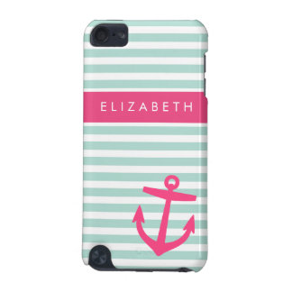 Mint and Pink Nautical Stripes Anchor Monogram iPod Touch (5th Generation) Case