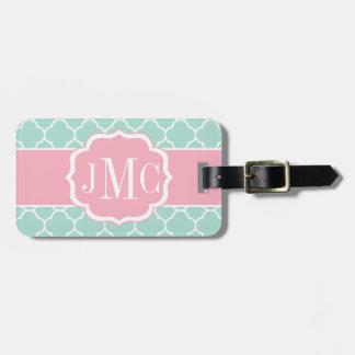 Mint and pink quatrefoil monogram Luggage Tag