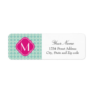 Mint and Pink Quatrefoil Pattern with Monogram Return Address Label
