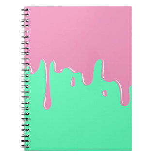 Mint and Pink Slime Melting Notebook