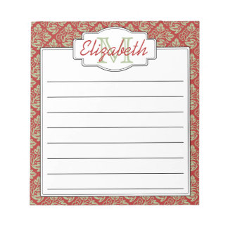 Mint and Red Monogram Tree of Life Pattern Notepad